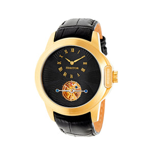 Heritor Automatic Windsor Semi-Skeleton Leather-Band Watch - Gold/Black - HERHR4204