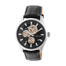 Load image into Gallery viewer, Heritor Automatic Stanley Semi-Skeleton Leather-Band Watch - Silver/Black - HERHR6504