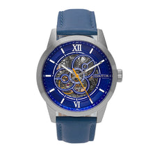 Load image into Gallery viewer, Heritor Automatic Jonas Leather-Band Skeleton Watch - Silver/Blue - HERHR9503