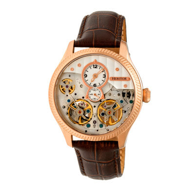 Heritor Automatic Winthrop Leather-Band Skeleton Watch - HERHR7305