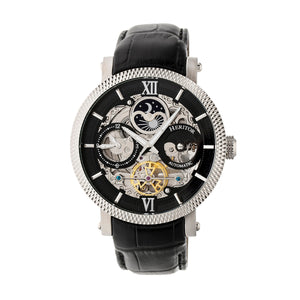 Heritor Automatic Aries Skeleton Leather-Band Watch -Black - HERHR4405