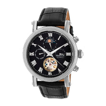 Load image into Gallery viewer, Heritor Automatic Winston Semi-Skeleton Leather-Band Watch - Silver/Black - HERHR5202