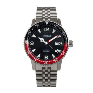 Heritor Automatic Dominic Bracelet Watch w/Date - Black&Red/Black - HERHR9804