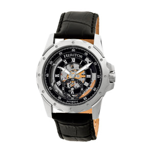 Heritor Automatic Armstrong Skeleton Leather-Band Watch - Silver/Black - HERHR3402