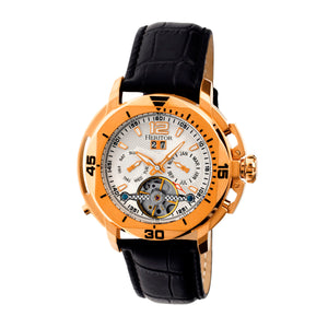 Heritor Automatic Lennon Semi-Skeleton Leather-Band Watch - Rose Gold/Silver - HERHR2805