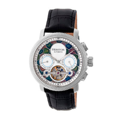Heritor Automatic Aura Men's Semi-Skeleton Leather-Band Watch - HERHR3504