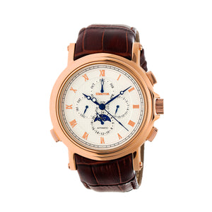 Heritor Automatic Kingsley Leather-Band Watch - Rose Gold/White - HERHR4804