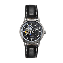 Load image into Gallery viewer, Heritor Automatic Oscar Semi-Skeleton Leather-Band Watch - Black - HERHS1001