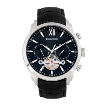 Load image into Gallery viewer, Heritor Automatic Arthur Semi-Skeleton Leather-Band Watch w/ Day/Date - Silver/Black - HERHR7902