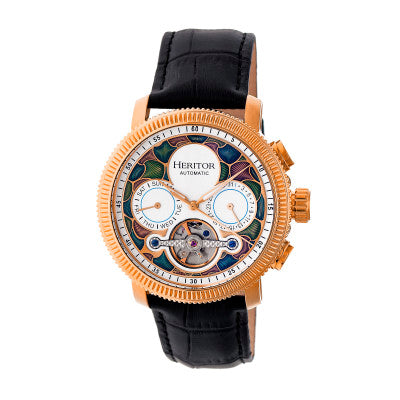 Heritor Automatic Aura Men's Semi-Skeleton Leather-Band Watch - HERHR3506