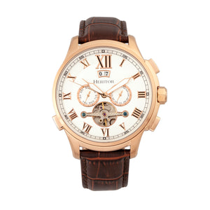 Heritor Automatic Hudson Semi-Skeleton Leather-Band Watch w/Day/Date - Brown/Rose Gold - HERHR7504