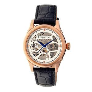 Heritor Automatic Nicollier Skeleton Leather-Band Watch - Rose Gold/Black - HERHR1905