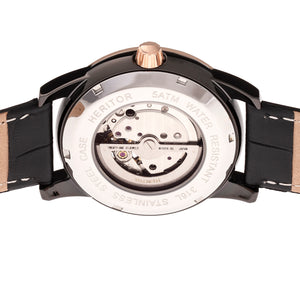 Heritor Automatic Davidson Semi-Skeleton Leather-Band Watch - Rose Gold/Black - HERHR8006
