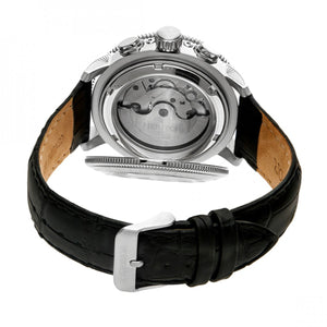 Heritor Automatic Aura Men's Semi-Skeleton Leather-Band Watch - Silver/Black - HERHR3501