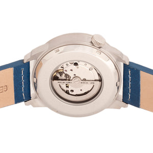 Heritor Automatic Wellington Leather-Band Watch - Silver/Blue - HERHR8202