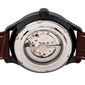 Heritor Automatic Harding Semi-Skeleton Leather-Band Watch - Black - HERHR9006