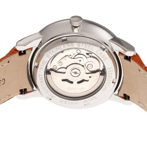 Heritor Automatic Landon Semi-Skeleton Leather-Band Watch - Silver/Orange - HERHR7703