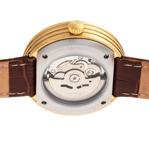 Heritor Automatic Jasper Skeleton Leather-Band Watch - Gold/White - HERHR8706
