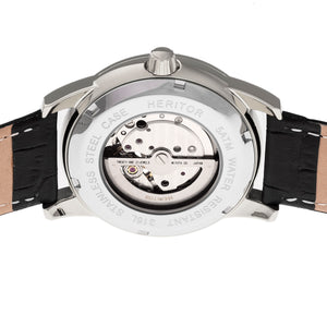 Heritor Automatic Davidson Semi-Skeleton Leather-Band Watch - Silver/Black - HERHR8002