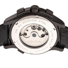 Load image into Gallery viewer, Heritor Automatic Hudson Semi-Skeleton Leather-Band Watch w/Day/Date - Black - HERHR7505