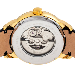 Heritor Automatic Sanford Semi-Skeleton Leather-Band Watch - Gold/Black - HERHR8303