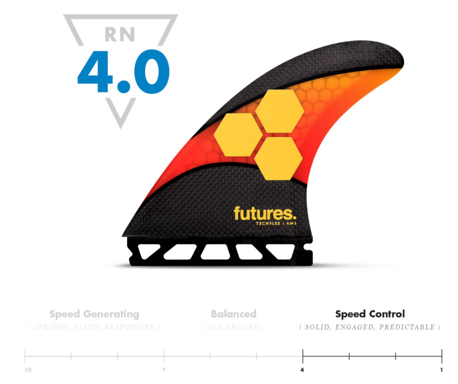 AM2 Techflex Futures Fins SOLID, ENGAGED, PREDICTABLE Help control speed and make your board feel more stable.