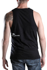 Back View of Men's Black Cotton Vest Size Large