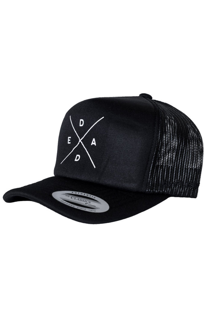 DEAD RECKONING, CLASSIC TRUCKER CURVED PEAK ADJUSTABLE CAP, SOUTH AFRICAN BRAND BLACK TRADEMARK LOGO