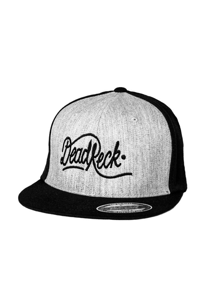 DEAD RECKONING FLEXFIT TWO TONE CAP HEATHER GREY AND BLACK FRONT FLAT PEAK