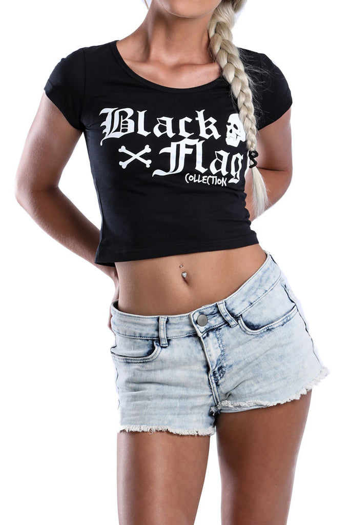 """LADIES-BLACK-COTTON-CROP-TOP-DEAD-RECKONING-BLACK-FLAG-BACK-VIEW"" ""LADIES-BLACK-COTTON-CROP-TOP-DEAD-RECKONING-BLACK-FLAG-FRONT-VIEW"""