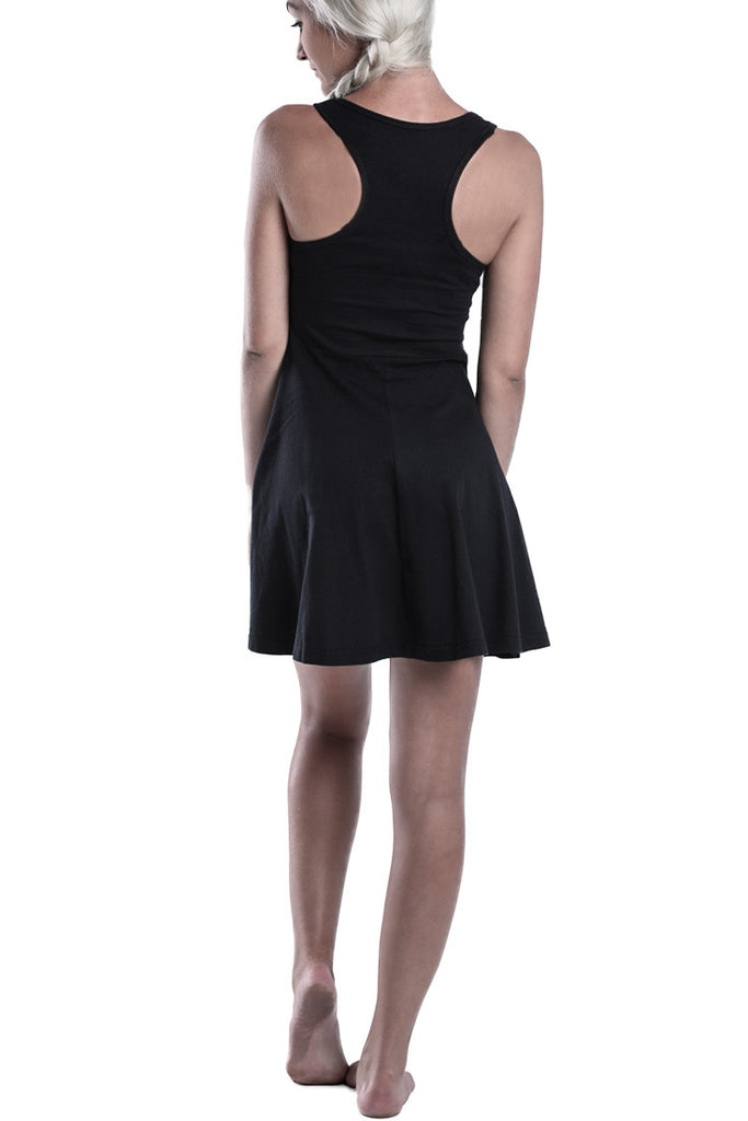 LADIES-BLACK-COTTON-SUMMER-DRESS-TOP-DEAD-RECKONING-KNEE-HIGH-DRESS-BACK-VIEW
