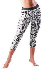 Dead Reckoning, Fourway Stretch, Ladies Tights, Running, Yoga, Gym Pants, Skull Print
