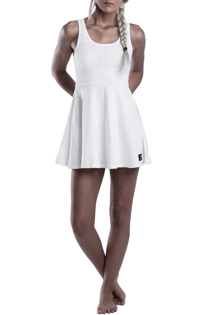 LADIES-WHITE-COTTON-SUMMER-DRESS-TOP-DEAD-RECKONING-KNEE-HIGH-DRESS-FRONT-VIEW