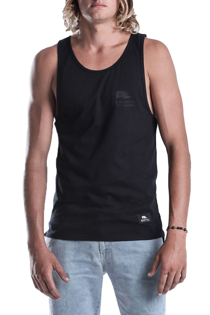 MENS-BLACK-COTTON-VEST-DEAD-RECKONING-BLACK-FLAG--DROP-ANCHOR-FRONT-VIEW