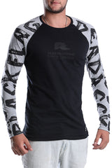 MENS-BLACK-MELANGE-LONG-SLEEVE-COTTON-RAGLAN-DEAD-RECKONING-BLACK-FLAG--RAGLAN-FRONT-VIEW