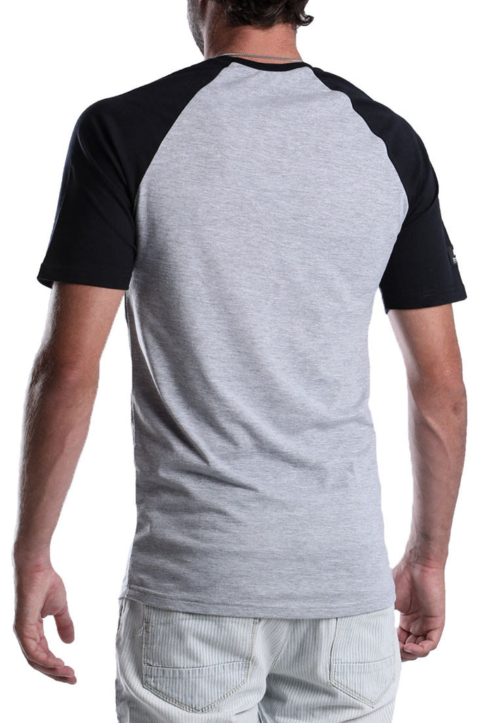 MENS-BLACK-MELANGE-SHORT-SLEEVE-COTTON-RAGLAN-DEAD-RECKONING-BLACK-FLAG--RAGLAN-FRONT-VIEW