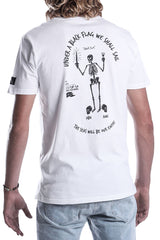 MENS-WHITE-COTTON-TEE-DEAD-RECKONING-BLACK-FLAG--BLACKK-BART-FRONT-VIEW