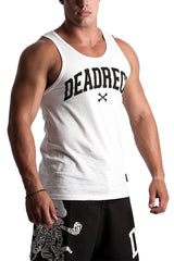 MES WHITE SLEEVELESS VEST MADE IN SOUTH AFRICA BY DEAD RECK 100% COTTON VEST