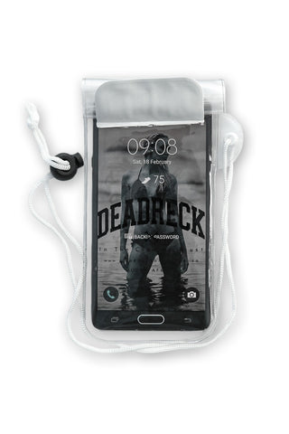Water Resistant Cellphone Pouch, White, Branded with Dead Reckoning