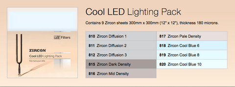 Zircon LED Cool lighting filter pack