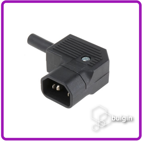 Right Angle Cable Mount IEC Plug Male