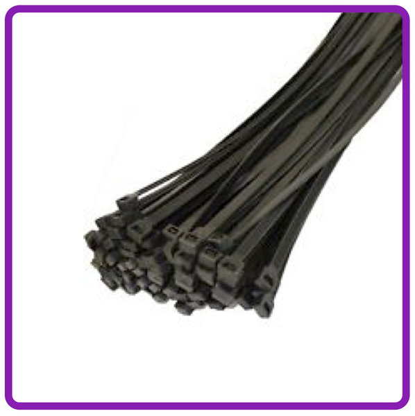 Cable ties 4.8mm x 370mm black nylon