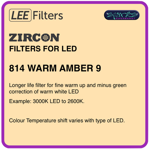 LEE ZIRCON 814 WARM AMBER 9 - L814