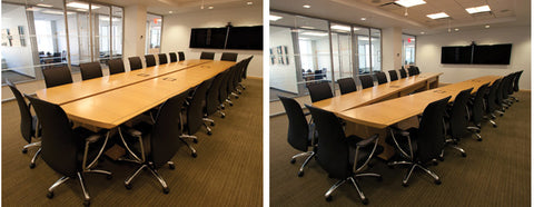 Anigre Conference Table for Conferencing (left) and Articulated for Video Conferencing (right)