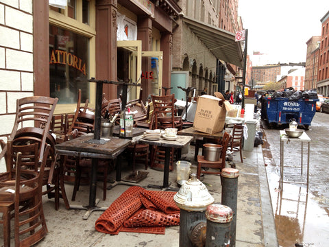 South Street Seaport's Front Street: Restaurant owners empty their storefronts to begin the cleaning process.(Photo by Jill)