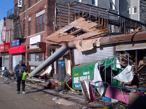 A row of stores in Rockaway destroyed by flooding and fire. (Photo by Marc)