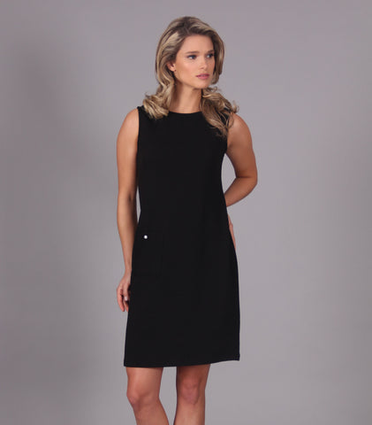 Sleeveless dress with faux pocket 1043