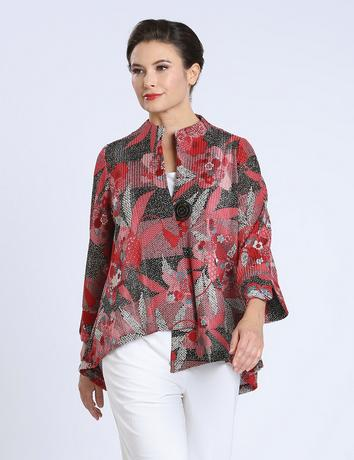 IC Collection Floral Mesh Jacket i - 1594J-RED