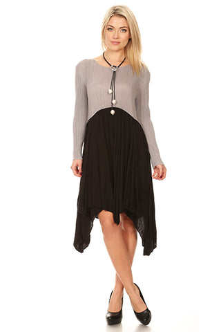 Vanite Couture Pleated Gray Black Dress