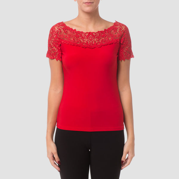 Joseph Ribkoff Lace short sleeve top 181113